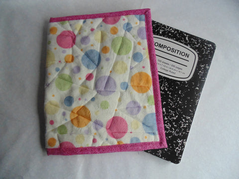 Composition Book Cover - Minky Fabric, Polka Dot Print