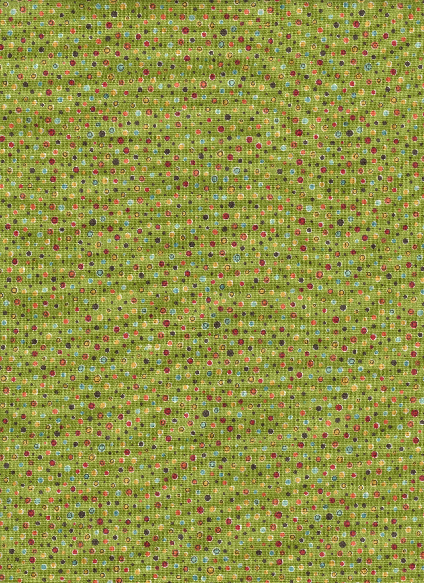 Multicolor Dots on Green Background - Fat Quarter