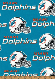 Miami Dolphins Football Fabric- NFL -100% Cotton Fabric - by Fabric Traditions