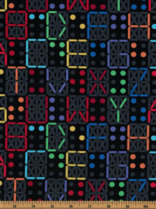 Neon Letters on Black Background - Fat Quarter