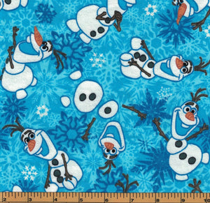 Olaf Winter Snowflakes Flannel Fabric- Frozen the Movie - by Springs Creative- 100% Cotton Flannel Fabric