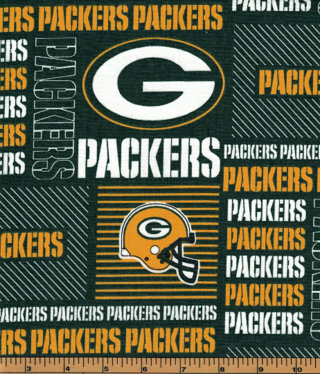 Green Bay Packers Fabric- NFL - 100% Cotton High Quality Fabric- by Fabric Traditions