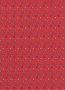 Red Multicolor Dot Fabric - Fat Quarter