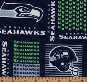 Seattle Seahawks Fabric- NFL - 100% Cotton High Quality Fabric- by Fabric Traditions