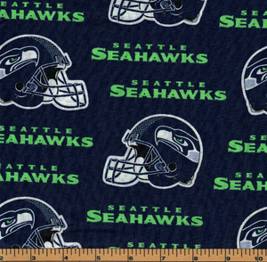 Seattle Seahawks Helmet Fabric- NFL - 100% Cotton High Quality Fabric- by Fabric Traditions