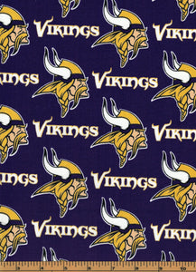Minnesota Vikings Football Fabric- NFL -100% Cotton Fabric - by Fabric Traditions
