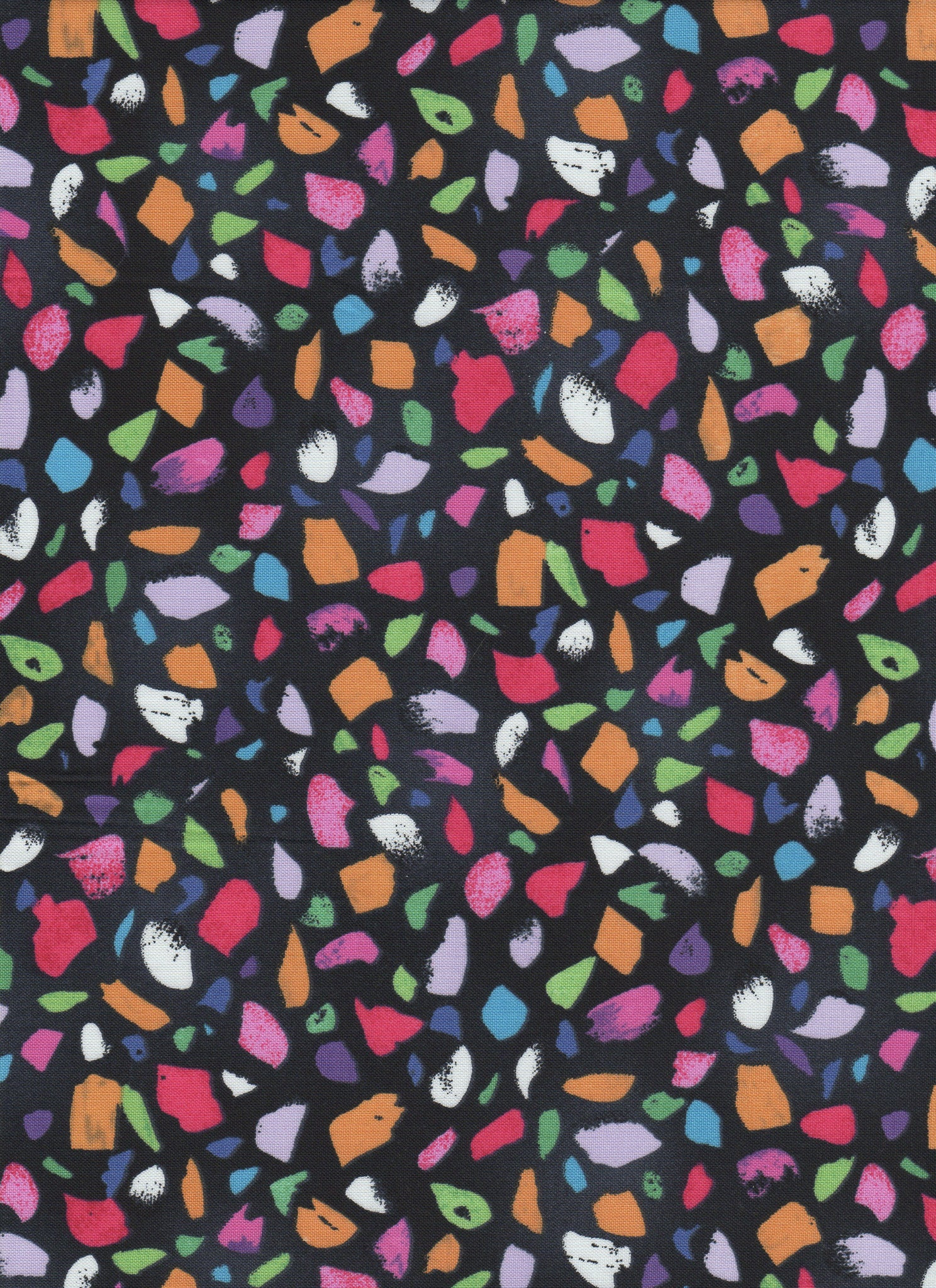 Multicolor Stones on Black Background - Fat Quarter