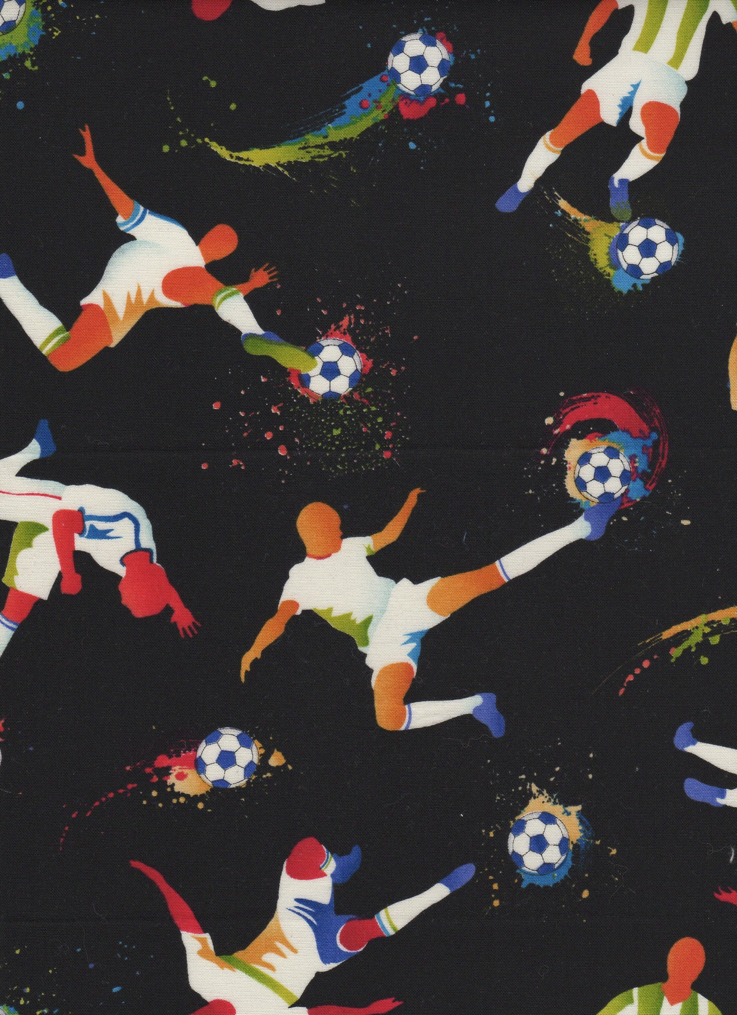 Soccer Players on Black Background - Fat Quarter