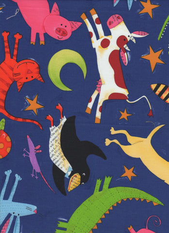 Animals on Blue Background - Fat Quarter