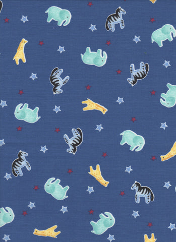 Baby Animals on Blue Background - Fat Quarter