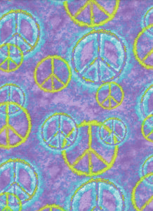 Purple Peace Sign Fabric - Fat Quarter