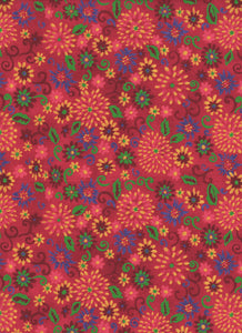 Red Floral Fabric - Fat Quarter