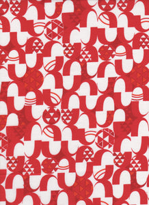 Red and White Geometric Fabric - Fat Quarter