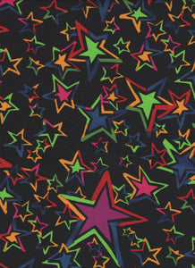 Multicolor Stars on Black Background - Fat Quarter