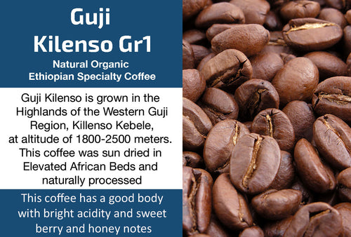 Guji Kilenso Organic Natural Gr1 Ethiopian Coffee (Medium Roast)
