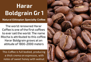 Harar Boldgrain Grade 1 - Natural Ethiopia Coffee (Medium Roast)