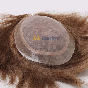 Custom Double Lace Center Thin PU around Hair Replacement System