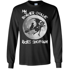 Border Collie Halloween Shirts My Border Collie Rides Shotgun T shirts