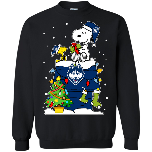 Connecticut Huskies Ugly Christmas Sweaters Snoopy Woodstock Hoodies Sweatshirts