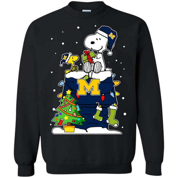 Michigan Wolverines Ugly Christmas Sweaters Snoopy Woodstock Hoodies Sweatshirts