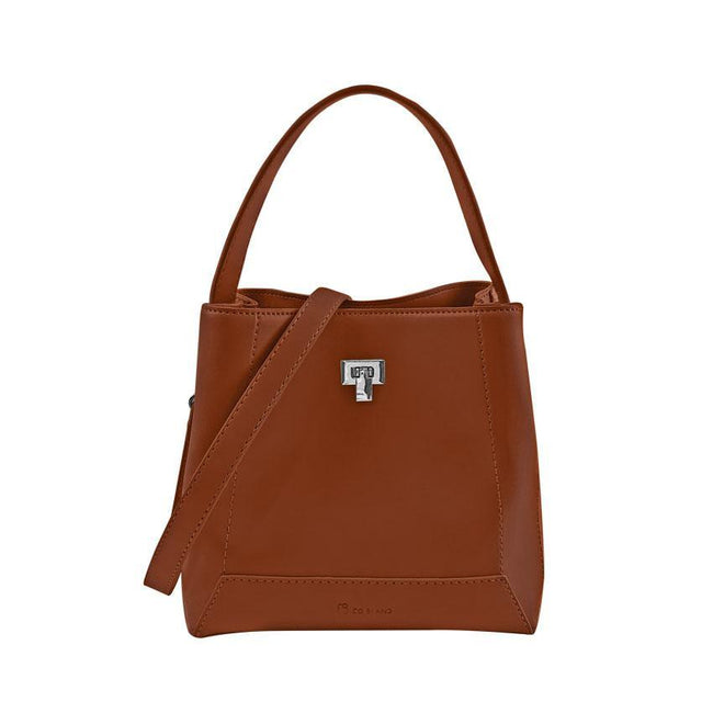 Twisted Lock Top Handle Bucket Bag