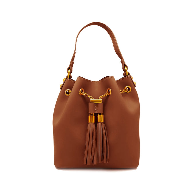 Metal Chain Drawstring Bucket Bag