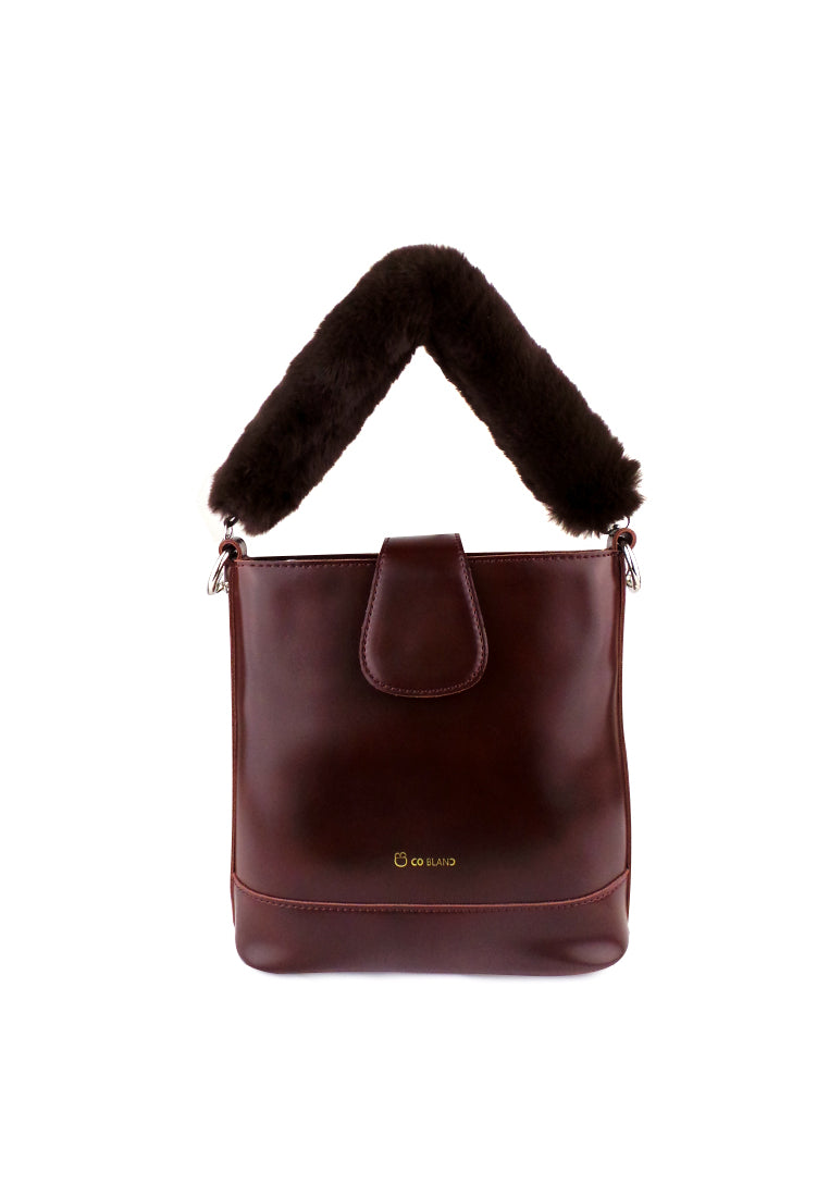 Flap Shoulder Bag with Fur