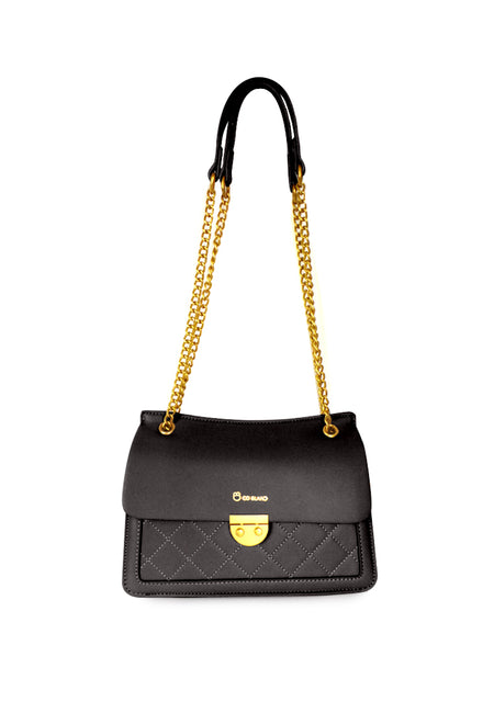 Quilted Push Lock Chain Strap Bag