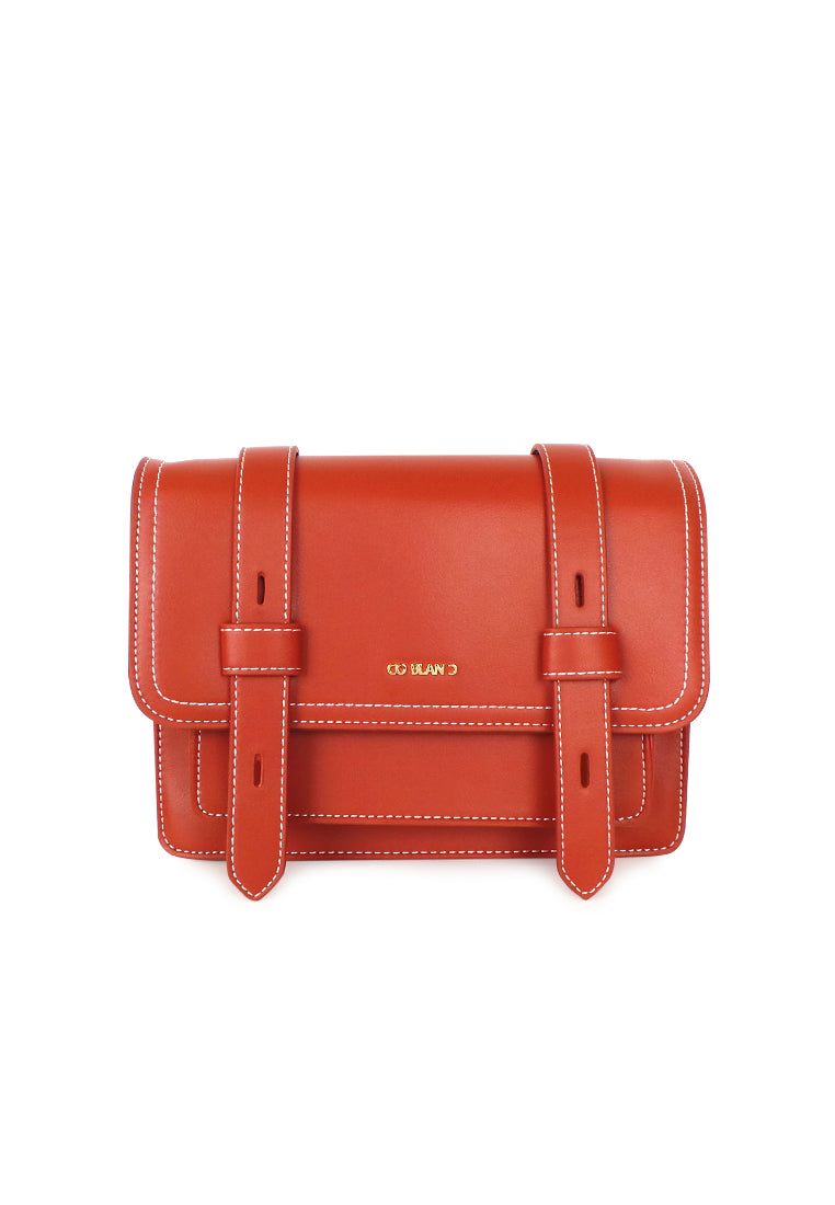 Mini Satchel with Flap Belted Details