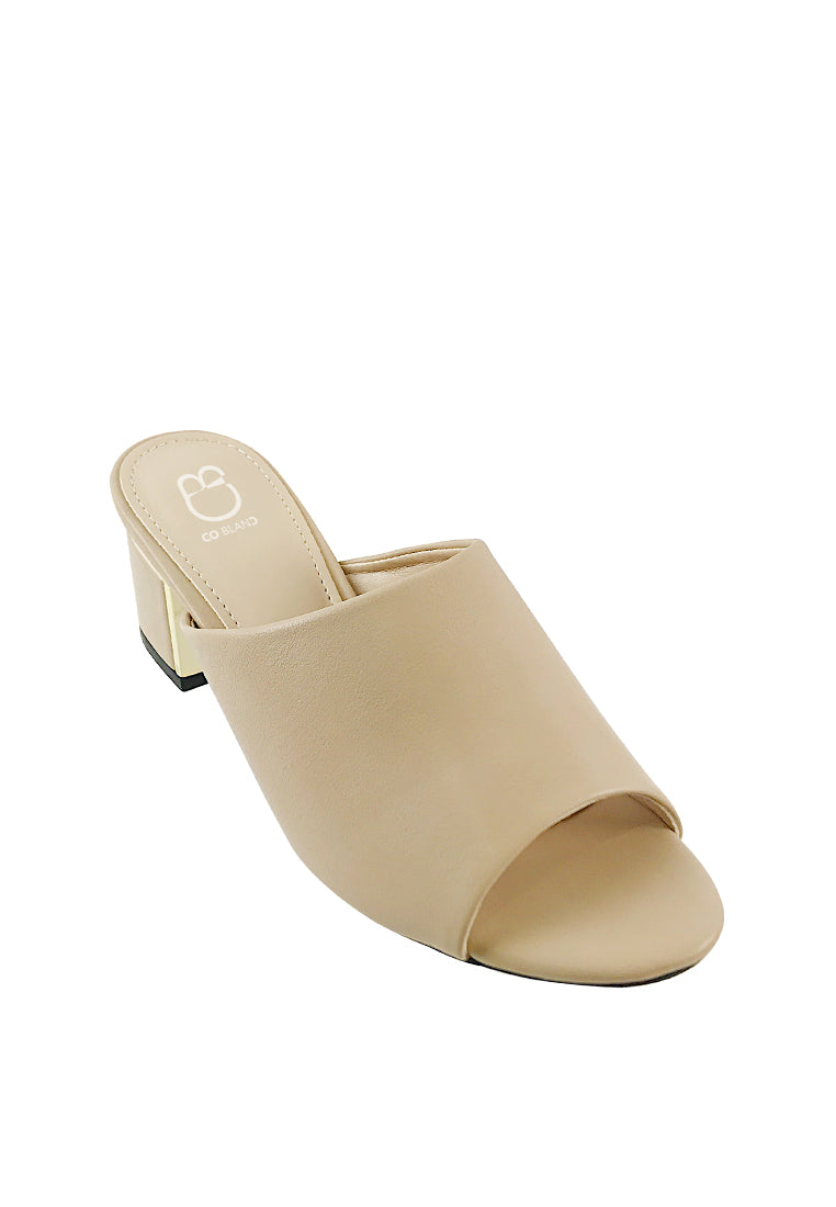 Metal Trim Block Heel Mules