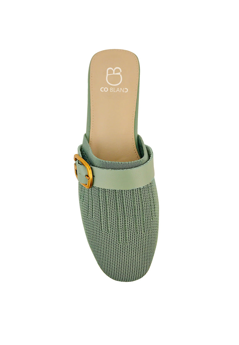 Knitted Flat Mules with Buckle