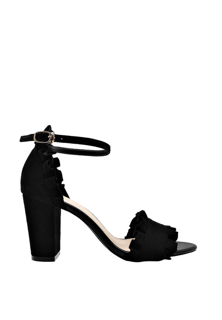 Ruffled Ankle Strap Heel Sandals