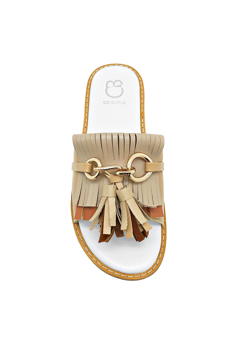 Metal Buckle Slide Sandals with Fringe Details
