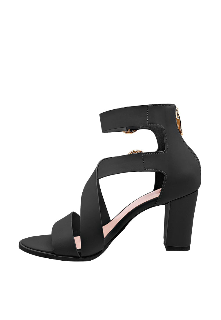 Strappy Heel Sandals with Buckle Details