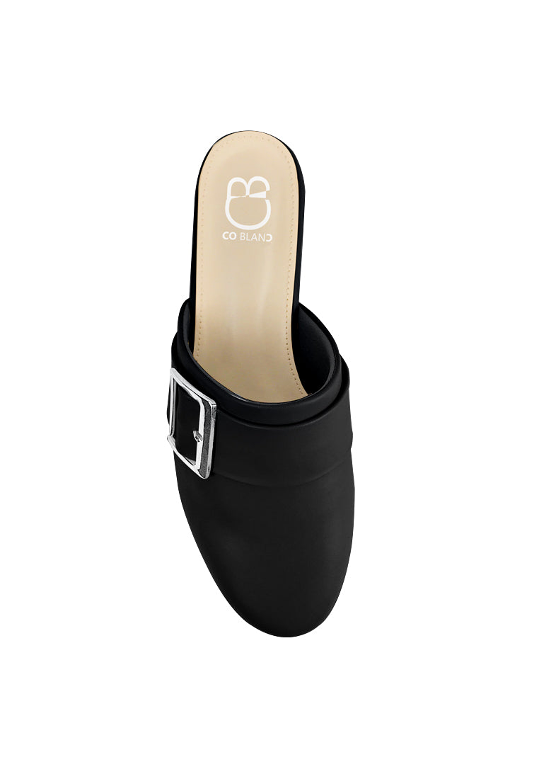Round Toe Flat Mules with Buckle