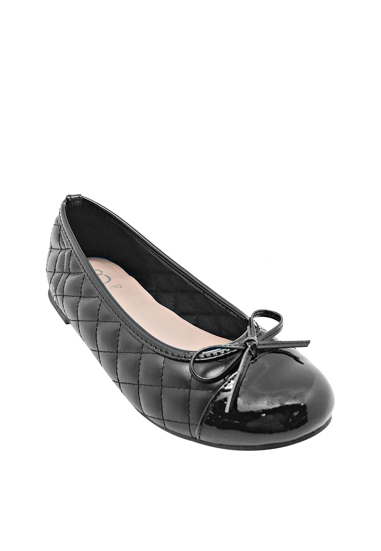Quilted Toe Cap Ballerinas with Ribbon