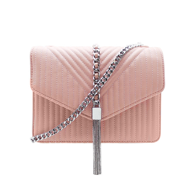 Quilted Envelope Sling Bag with Metal Tassel