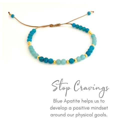 CRAVINGS TIE-UP BRACELET - The gorgeous deep blue gemstone Blue Apatite helps us improve our body image, supporting us to love our body so we feel beautiful.