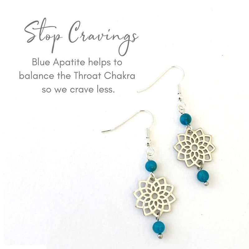 CRAVINGS MADALA EARRINGS: The gorgeous deep blue gemstone Blue Apatite helps us improve our body image, supporting us to love our body so we feel beautiful.