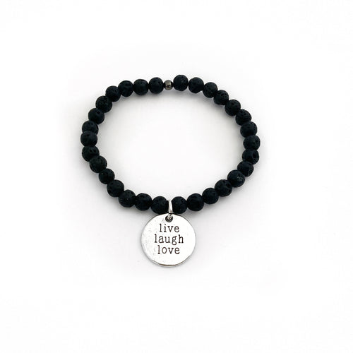Kaya Jewellery - Chakra balance and Essential oil diffuser Jewellery - Lava Affirmation Bracelet - Live Laugh Love