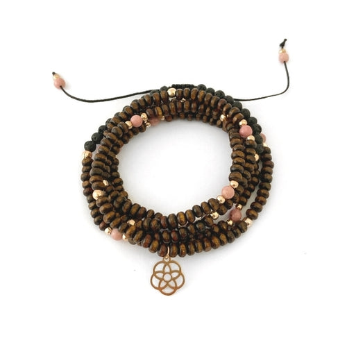 Tenderness Wrap Bracelet - RHODONITE FOR COMPASSION  Rhodonite helps to restore our capacity for nurturing when we feel depleted. It helps calm us in stressful situations and clears confusion so we can make sense of our own feelings and be more compassionate with others.
