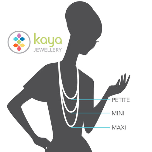 Kaya Jewellery - Chakra balance and Essential oil diffuser Jewellery - Length Diagram