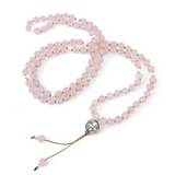 Mala in Rose Quartz for Love: ROSE QUARTZ FOR LOVE  Balance Your Heart Chakra: Rose Quartz is the symbol of unconditional mothering love. It promotes deep inner acceptance, kindness and self love while enhancing our feeling of self worth.