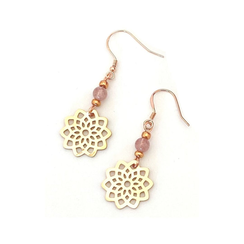 Mandala Earrings : Strawberry Quartz for Nurturing