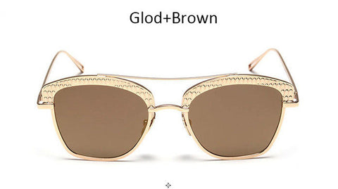 SunglassHubb Panel Gold Shades