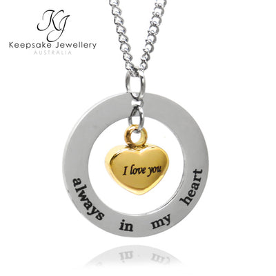 Always In My Heart Circle Cremation Pendant Gold
