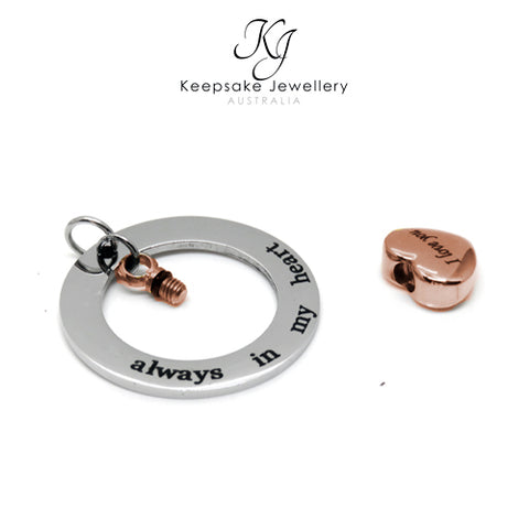 Always In My Heart Circle Cremation Pendant Rose Gold open