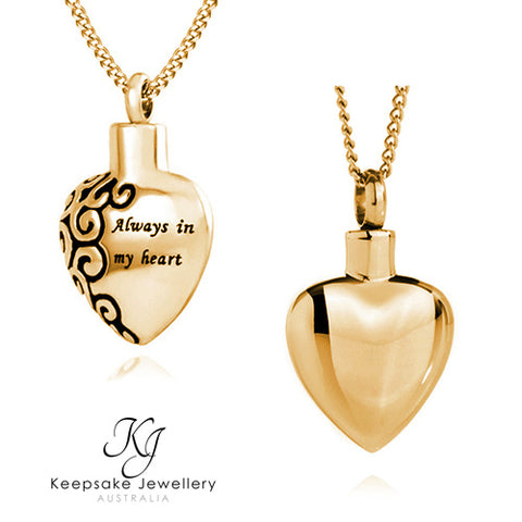 Always In My Heart Cremation Pendant (Gold Stainless Steel)