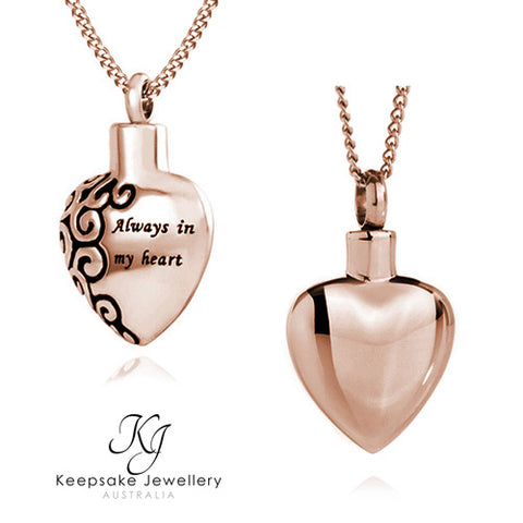 Always In My Heart Cremation Pendant (Rose Gold Stainless Steel)