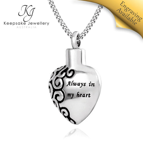 Always In My Heart Cremation Pendant STS